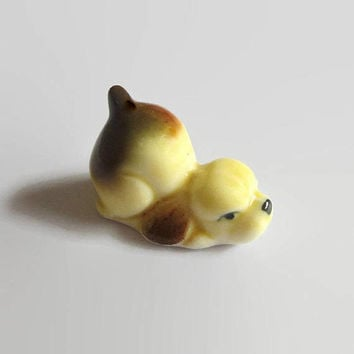 Cocker Spaniel Puppy, Vintage, Hand Painted Ceramic, Miniature Dog Collectible, Adorable!