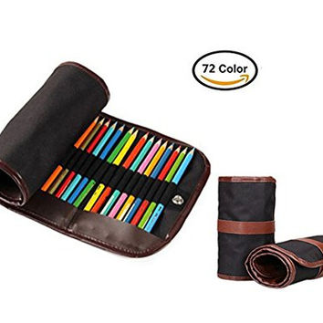Aweoods Colored Canvas Pencil Wrap Roll Up Case Drawing Coloring Pencil Roll Organizer Multi-purpose Pouch for Students Artist Hobbyist School Office Art (Pencils are NOT INCLUDED)72 Holes (Black)