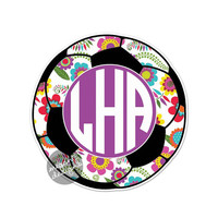 Custom Monogram Floral Soccer Ball Decal - Colorful Flower Car Decal Laptop Vinyl Bumper Sticker Teal Turquoise Pink Green Yellow Initials