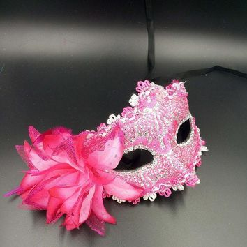 10pcs Halloween Venice Half Face Lily Feather Mask Fancy Ball Party Princess Mask Masquerade Masks Female Ladies Big Flower