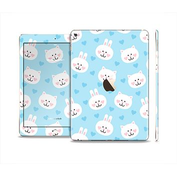 The Subtle Blue & White Faced Cats Skin Set for the Apple iPad Air 2