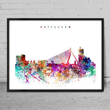 Rotterdam Watercolor Print, watercolor Art, Wall art, Rotterdam Skyline, Cities Art, Wall Art, typography art, Decor-x08