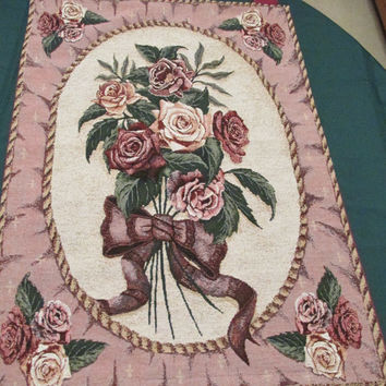 Elegant Rose Bouquet Tapestry Banner Wall Hanging