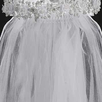 Corded Flowers and Pearl Accented Girls White Communion Veil