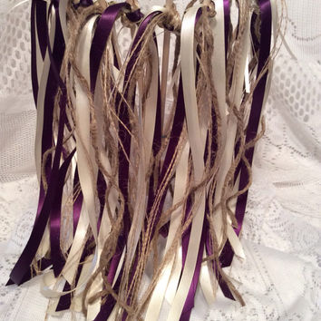 100 wedding wands plum ivory with jute gold bells ribbon streamer send off you choose colors