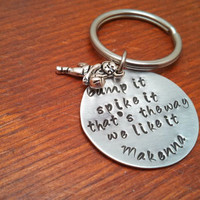 Hand stamped personalized  volleyball keychain
