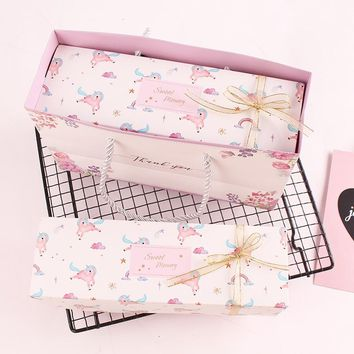 New 21.5*7*5cm 10pcs Macarons Pink unicorn Macaron Chocolate Paper Box Storage Boxes Christmas Birthday Party Gifts Packaging