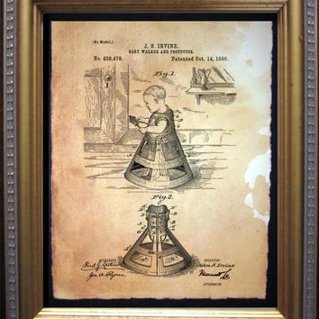 Baby Walker and Protector Schematic Plan Drawing Art Print- Vintage Art Print on Tea Stained Paper