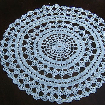 "Vintage Crochet Doily 12"" Twelve Inch Crocheted Round Doily Centerpiece White Doily Table Topper Vintage Doily"