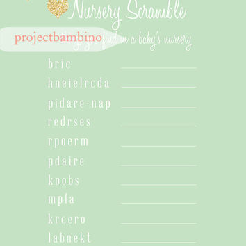 Mint and Gold Baby shower word scramble gold glitter and mint baby shower game with gold hearts digital file instant download diy