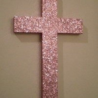 PINK GLITTER CROSS - Sparkling Princess Pink Glitter Wall Cross