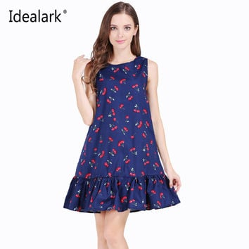 Idea lark 100% cotton Sleeveless Ruffles Summer Dress