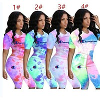 Champion Popular Woman Fashion Print Short Sleeve Top Shorts Set Two Piece
