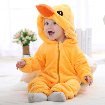 Baby Boy Clothes Baby Girl Cloths Flannel Jumpsuits Ali Panda Duck Animal Model 0-2 Years Old Hallowen