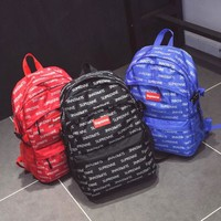 Supreme more alphabet Casual Sport Laptop Bag Shoulder School Bag Backpack