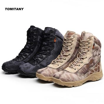 Man Hiking Outdoor Shoes Waterproof Camo Zipper Military Tactical Army Boot Men Climbing Trekking Camping Sneaker Shoe