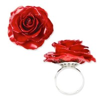 Lacquer Dipped Red Real Rose Adjustable Ring