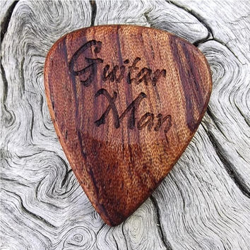 Wood Guitar Pick - Premium Quality - Handmade With African Bubinga - Laser Engraved Both Sides - Actual Pick Shown