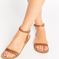 ASOS FLERY Leather Flat Sandals at asos.com