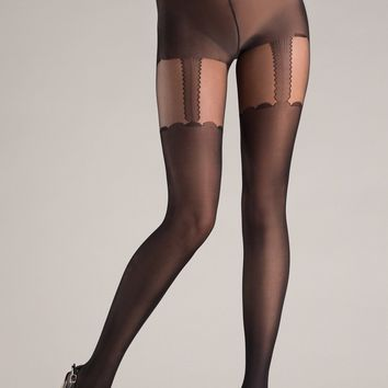 Be Wicked Black Opaque Design Cross bone Pantyhose