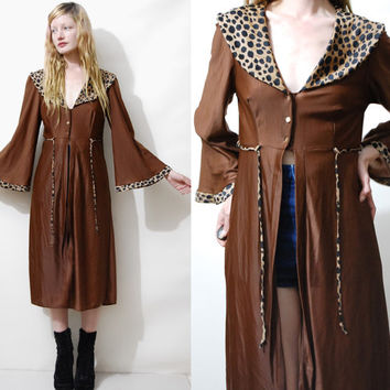 70s Vintage ROBE DRESS Leopard Print Brown Flare Bell Angel Sleeves Bohemian Hippie boho Jacket 1970s vtg S M