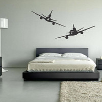 Wall Decal Vinyl Sticker Decals Art Decor Design Two Plane Airplane Airport Air Wings Modern Sryle Bedroom Living room ( r9)