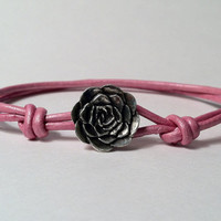 Pewter Rose Button Bracelet - Leather Bracelet, Cuff, Flower Bracelet, Danforth Pewter
