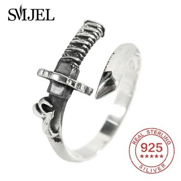 SMJEL Men's Finger Rings Sword 925 Silver Jewelry Vintage Swordsman King Ring Punk Thai Silver Female Gifts for Boys Anel
