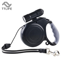 Brand New ABS Material 5 Meter Length Retractable Leashes Leads for Dog and Pet with Led Flashlight Safe Travel at Night
