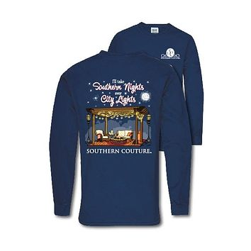 Southern Couture Preppy Southern Nights Comfort Colors Long Sleeve T-Shirt