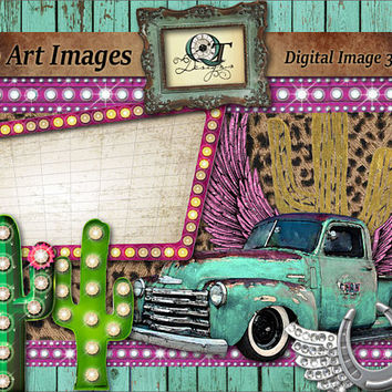 Gypsy Theme Graphic Design Pack | png images with transparent background, high resolution 300 dpi, Truck, Sign, Leapord Print, Ribbon