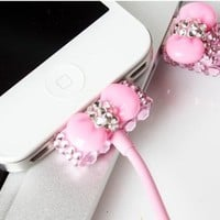 Pink Rhinestone Bow USB Cable Cord USB Power Charger For Iphone 4/4s