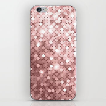 Rose gold glitter iPhone Skin by printapix
