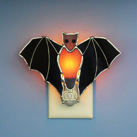 Stained Glass Black Bat Light Sensor Night Light