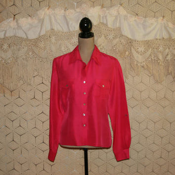 Rose Pink Silk Blouse Long Sleeve Blouse Pink Blouse Button Up Blouse Womens Shirt Dressy Blouse Size 12 Size 14 Large Womens Clothing