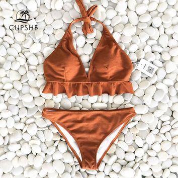 CUPSHE Caramel Macchiato Ruffle Solid Bikini Set Women Halter Sexy Thong Bikini Swimwear 2018 Girl Beach Bathing Suit Swimsuit