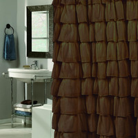 Carmen Ruffled Tier Polyester Shower Curtain - 8 Colors