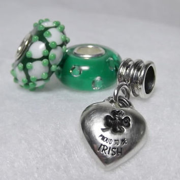 Proud to be Irish collection 2 Lampwork Charm Bead 1 Sterling Silver charm Fits Popular Brand names Bracelets Chains