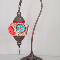 Colorful Swan Neck  Mosaic Lamp With Vintage Look Bronze Plated Base, Bedside night lamp, Turkish night lamp, Night Decorations, Lightings.