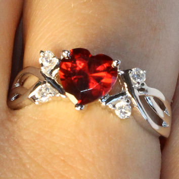 Ruby Heart Shaped Ring – Red Cubic Zirconia