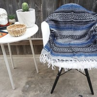 Mexican Blanket / Blue - Gray - Black