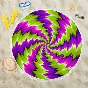 Psychedelic Spiral Green Purple Beach Blanket 59 Inch