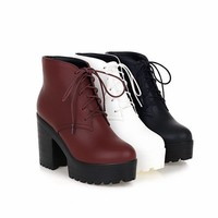 Chunky Heeled Fur Lined Platform Boots 3 Colors