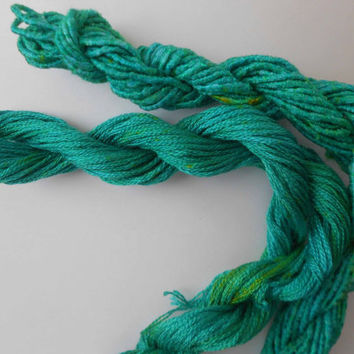 Deep Carribean GreenSilk Duo, hand dyed, Yarn, Mixed Media, Textile Art, Fiber Art, Serendipity
