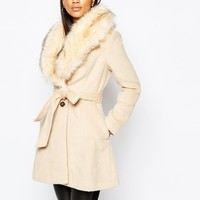Michelle Keegan Loves Lipsy Coat With Faux Fur Collar