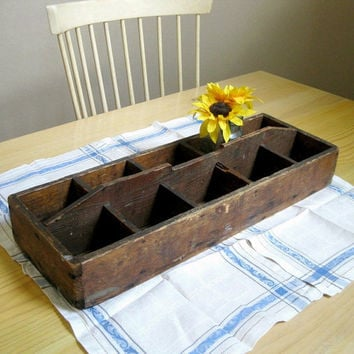 Primitive Wood Toolbox Centerpiece Table Decor Rustic