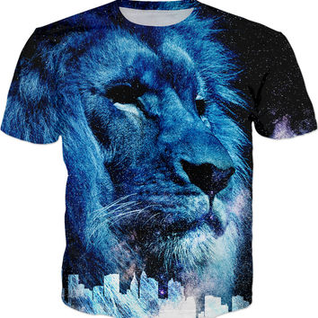 Galactic Watcher men fit tee shirt, blue lion at dark sky and town silhouette, wild cat