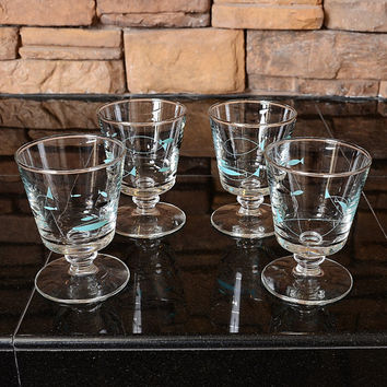 Vintage 50s Set of 4 Libbey Mediterranean Atomic Fish Footed Glasses 1950s Mid Century Turquoise Silver Barware Kitsch Cocktail Space Age