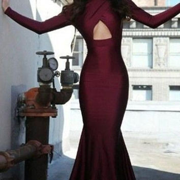 Sexy Burgundy High Collar Mermaid Prom Dresses Long Sleeves Open Back Evening Gowns Wear Backless Formal Occasion Dresses Cheap