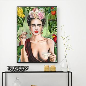 Art Canvas Print Poster Freedom Frida Kahlo Wall Decor Canvas Painting Wall Picture for Bedding Room